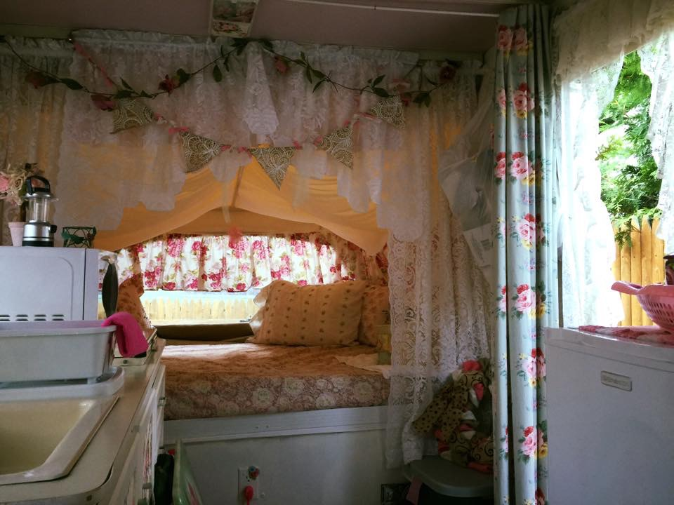 The renovated popup trailer of Extreme Glamping Club founder Tabatha Marie.!
