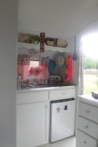 The front kitchen of the Grace trailer.