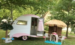 """The """"Grace"""" trailer by Lisa and Gregg Patterson of Classy Chassis Vintage Trailers."""