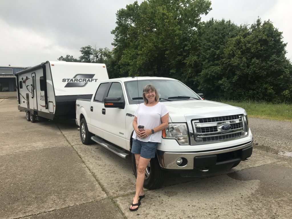 Woman with camper