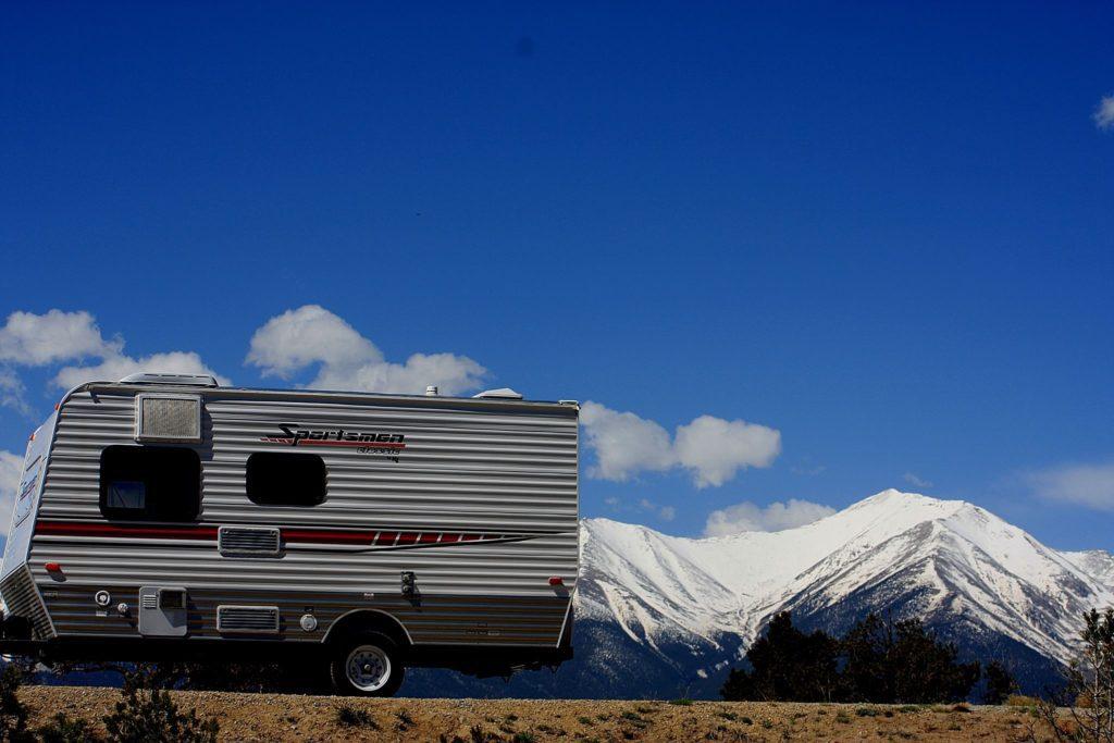 Collegiate Peaks and a camper