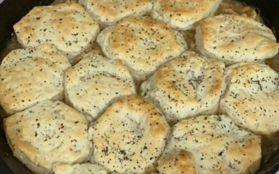 Hungry? Cast Iron Chicken Biscuit Pot Pie Recipe